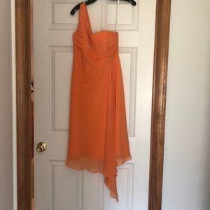 David's Bridal dress tangerine orange one shoulder